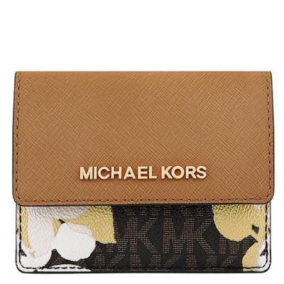 MICHAEL KORS JET SET花朵防刮牛皮零錢/短夾(焦糖色)