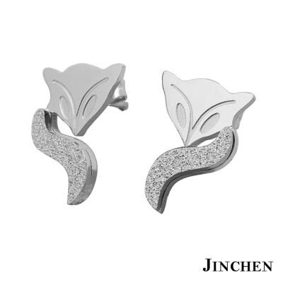 JINCHEN 白鋼狐狸耳環 銀色