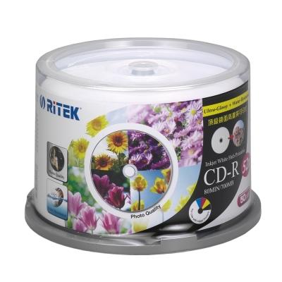 錸德 Ritek CD-R 700MB 52X 頂級鏡面相片防水可列印式光碟 50P布丁桶