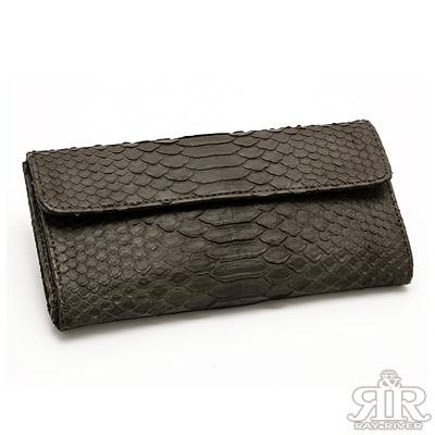 2R 珍稀蟒蛇皮 限量訂製三摺長夾 黑咖啡