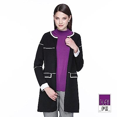 ILEY伊蕾 幾何線條配色針織長版外套(黑)