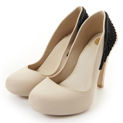 Melissa-天使之翼絕美高跟鞋-米白-黑