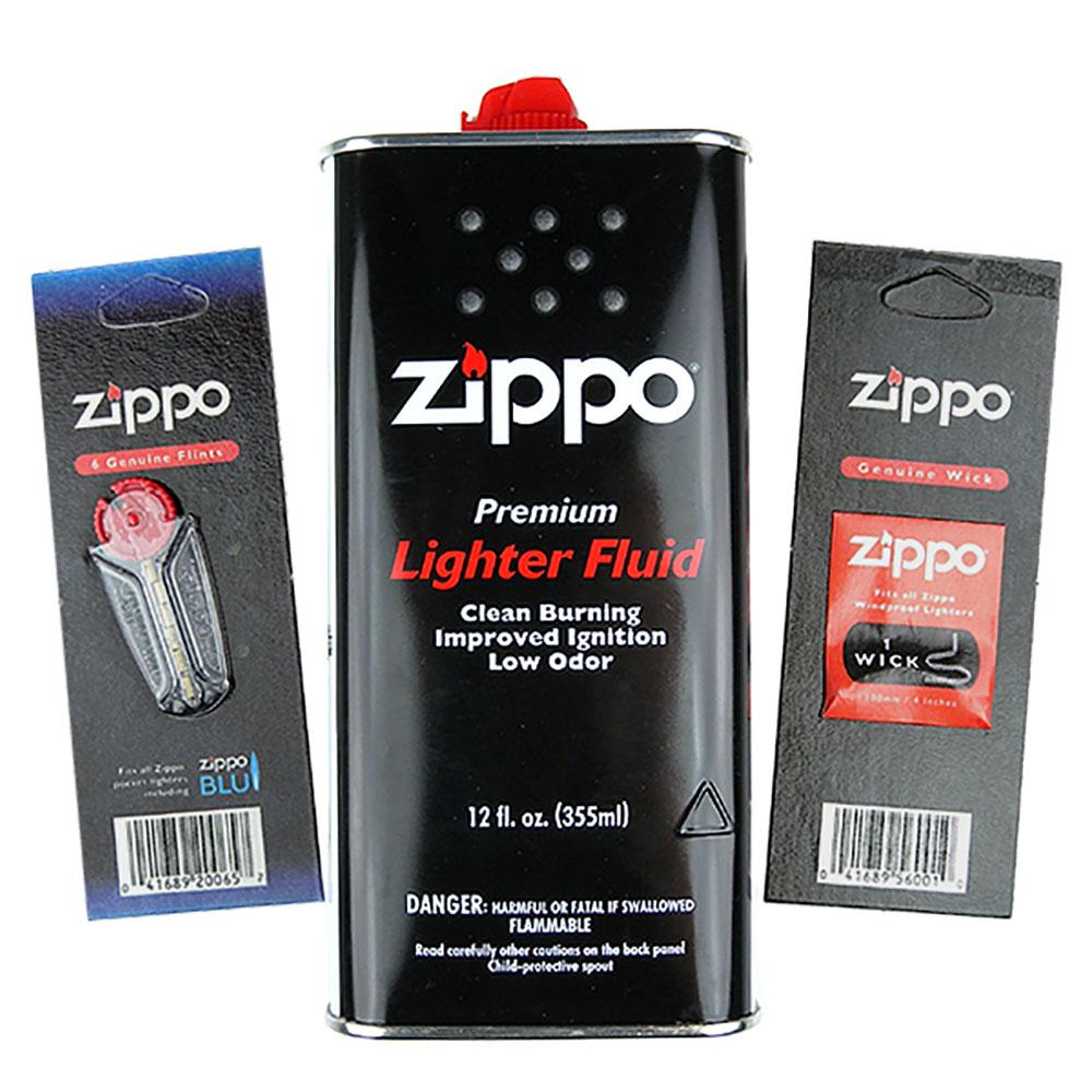【ZIPPO】3樣合購優惠組合(大補充油 打火石 棉芯)