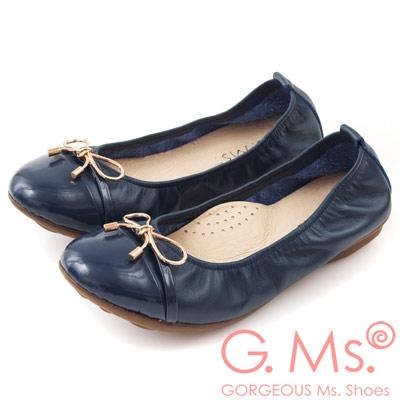 G.Ms. MIT系列-金屬蝴蝶結漆皮拼接牛皮娃娃鞋-名媛藍