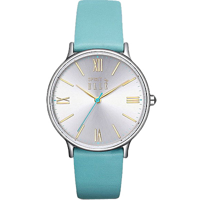 ELLE 羅馬時標時尚皮革手錶-銀X綠/33mm