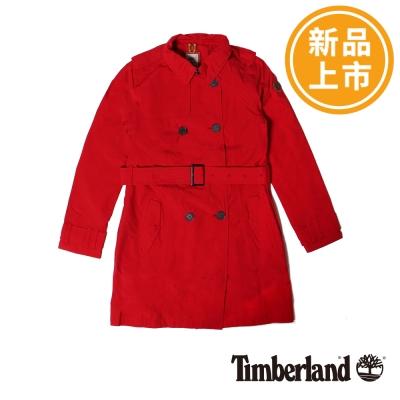 Timberland-女款紅色防水長版風衣外套