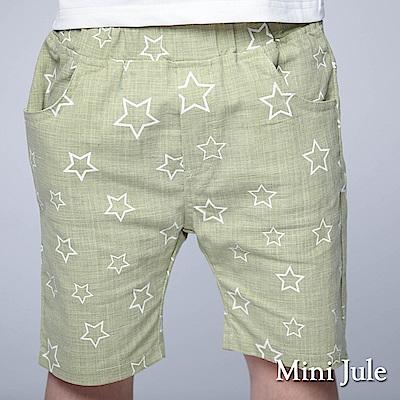Mini Jule 童裝-短褲 框線星星雙口袋鬆緊短褲(綠)