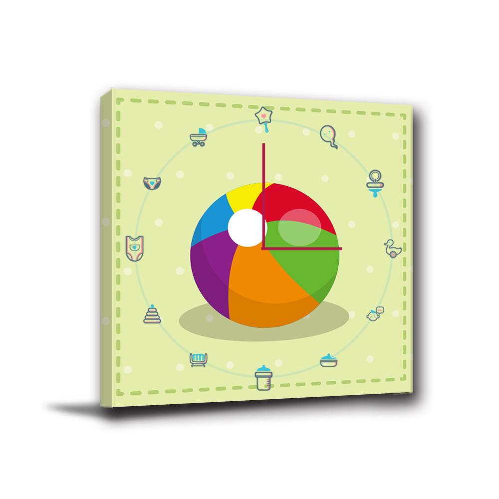 24mama掛畫-單聯掛飾壁鐘時鐘畫框無框畫藝術掛畫-寶寶皮球-30x30cm