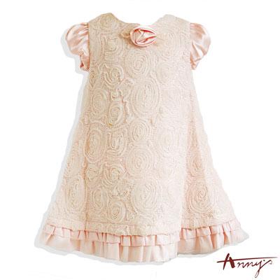 甜美緞面公主袖蕾絲玫瑰洋裝*4204粉