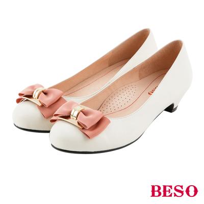 BESO 浪漫甜心 雙層蝴蝶結全真皮舒壓跟鞋~米