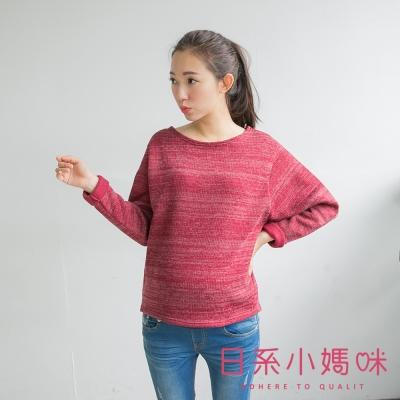 日系小媽咪孕婦裝-韓製孕婦裝-內磨毛混色短版針織上衣-共三色