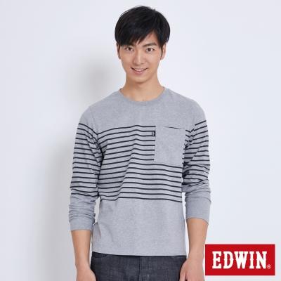 EDWIN 休閒條紋貼袋長袖T恤-男-麻灰