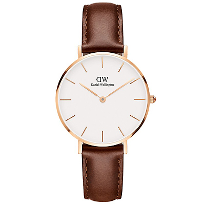 DW DanielWellington Petite經典真皮時尚手錶-金框X咖啡/32mm