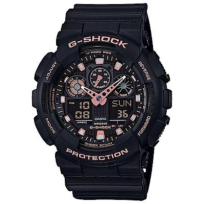 CASIO卡西歐G-SHOCK賽車運動雙顯手錶-玫瑰金x黑