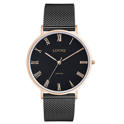 LOVME 學院風米蘭時尚手錶-IP玫x黑帶/41mm