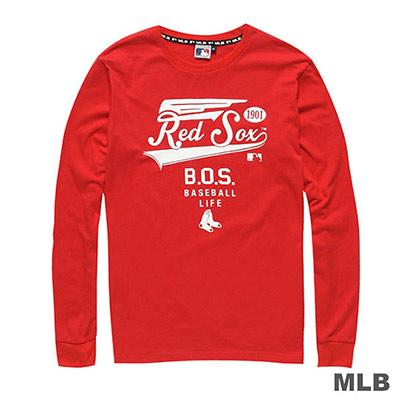 MLB-波士頓紅襪隊圓領單色印花長袖薄T恤-紅(男)