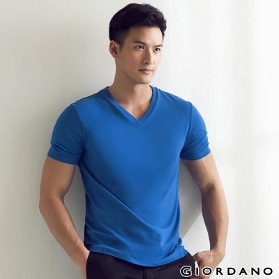 GIORDANO-男裝G-COOL涼感吸濕排汗V領TEE-75-維多利亞藍