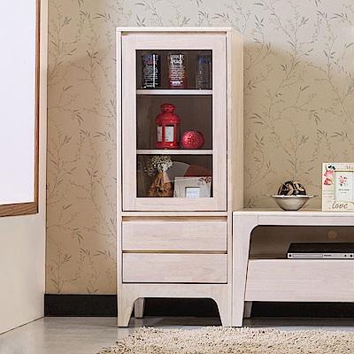 Boden-森克1.7尺全實木展示櫃/收納櫃-高櫃(洗白色)-50x45x131cm