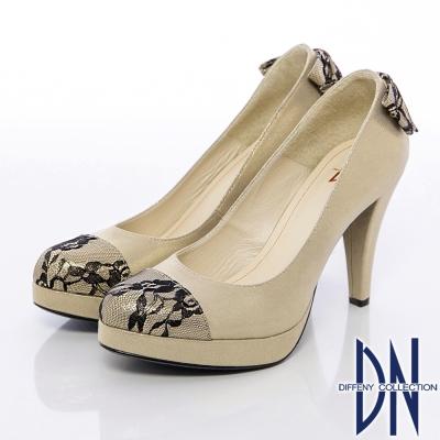 DN 精緻手工 蕾絲蝴蝶結金蔥高跟鞋 金