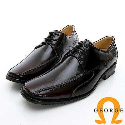 GEORGE 喬治-時尚職人系列 經典素面綁帶小方楦紳士鞋皮鞋-酒紅