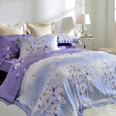 英國Abelia 紫戀花妍 特大木漿纖維八件式兩用被床罩組