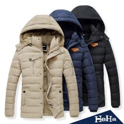 外套 刷毛加厚可拆連帽保暖外套 三色-HeHa