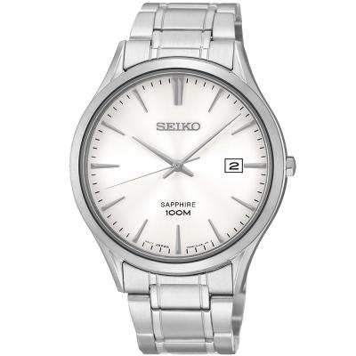 SEIKO 時尚玩家藍寶石水晶腕錶-銀/40mm