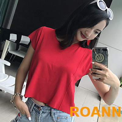 素面圓領短袖針織T恤 (共四色)-ROANN