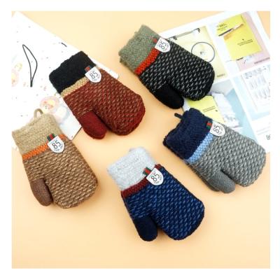 兒童編織雙層保暖連指手套(不挑色隨機出)