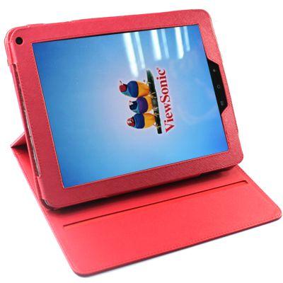 VIEWSONIC ViewPad 10e 皮套(旋轉款式)-紅/黑二色任選  可當支架用