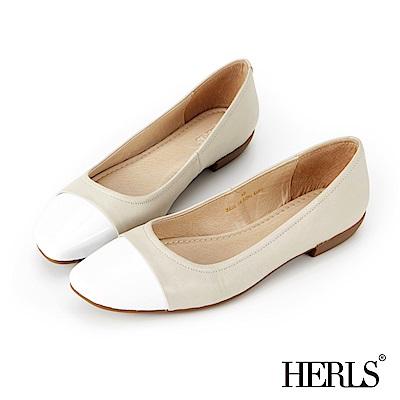 HERLS 法式典雅 全真皮漆皮拼接方頭斜口平底鞋-米
