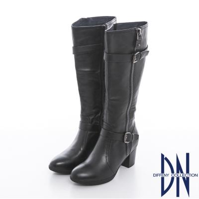 DN 流行元素 簡潔實穿真皮雙釦飾長跟靴 黑