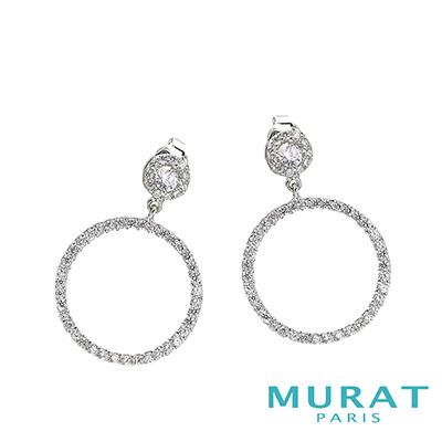 MURAT Paris米哈巴黎 閃耀滿鑽圓環埀吊耳環(大)