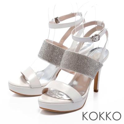 KOKKO台灣手工-性感亮鑽羅馬晚宴高跟鞋 - 氣質白
