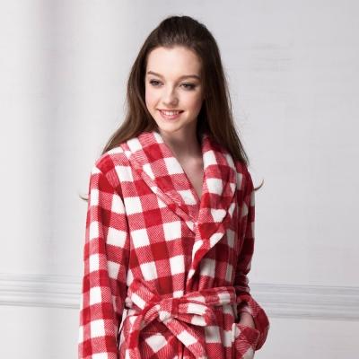 羅絲美睡衣 - 經典紅白格紋暖冬睡浴袍 (紅格紋)