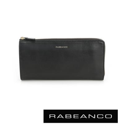 RABEANCO 迷時尚系列撞色多格層拉鍊長夾 黑