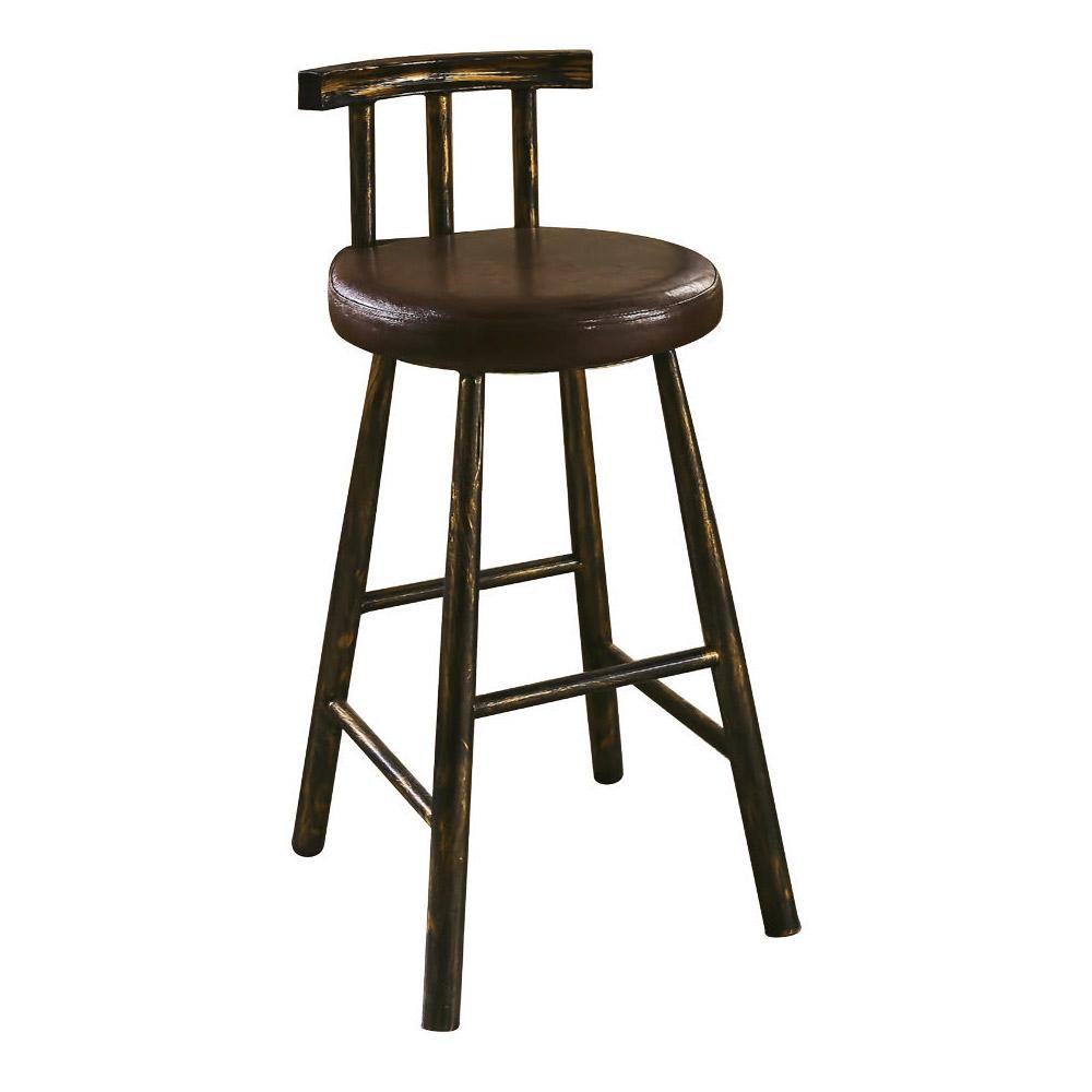AT HOME-工業風設計圓形軟墊吧台椅(40*44*91cm)