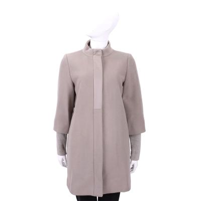 MARELLA-灰耦色-拼接-羊毛-大衣