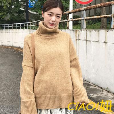 高領馬海毛粗針織毛衣 (共三色)-CIAO妞