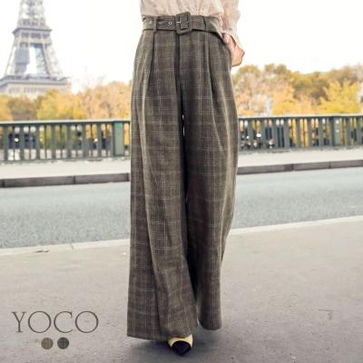 東京著衣-yoco安琪聯名法式經典格紋全長毛呢寬褲-XS.S.M.L(共二色)