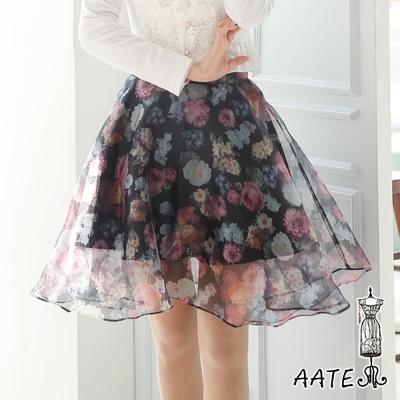 印花薄紗高腰傘襬裙(黑色)-AATE