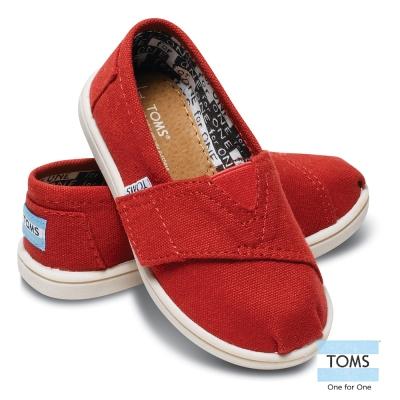 TOMS 經典帆布懶人鞋-幼童款(紅)