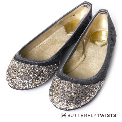 BUTTERFLY TWISTS-綢緞面亮片金蔥記憶軟墊平底鞋-灰