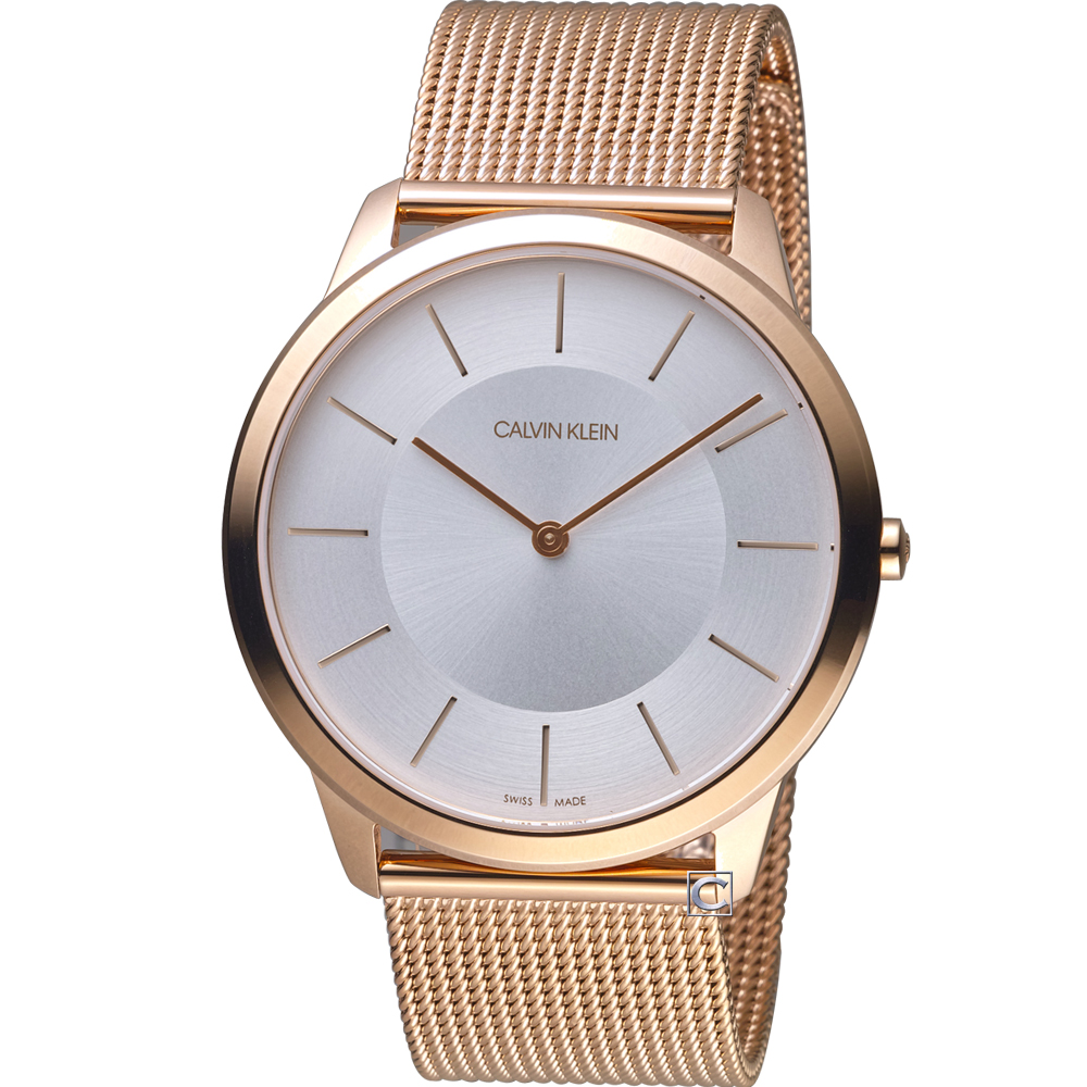 Calvin Klein ck 極簡米蘭帶腕錶(K3M2T626)白x玫瑰金/43mm