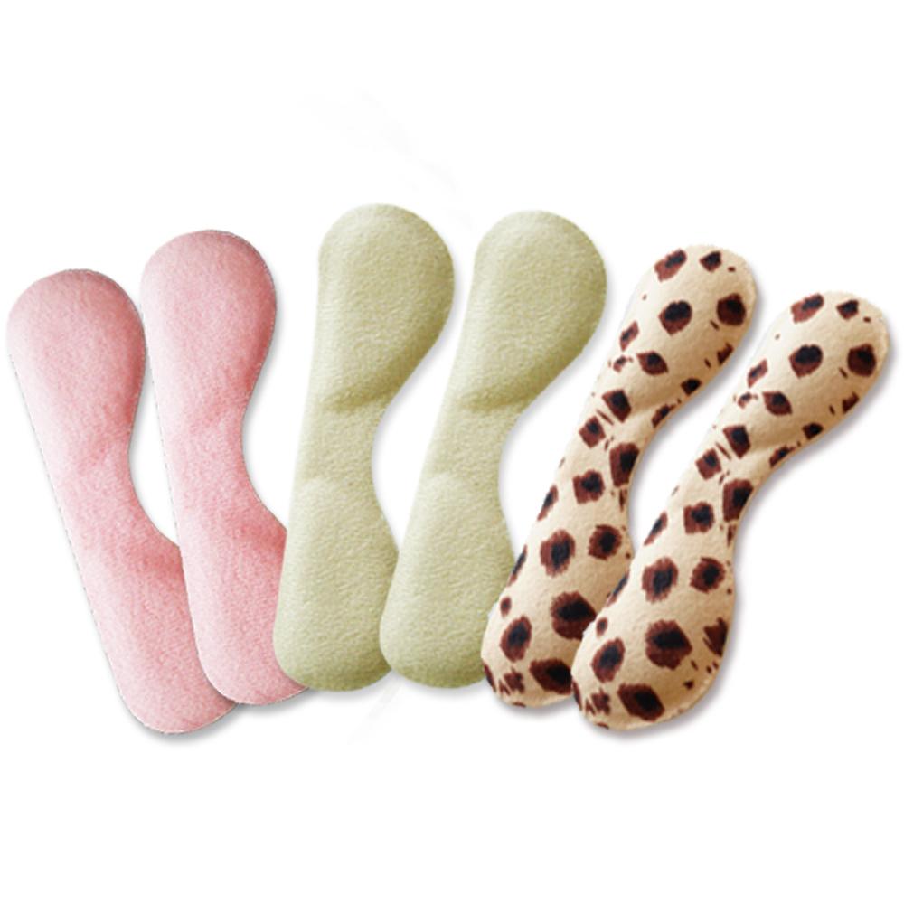 足的美形 超柔珍珠絨蝴蝶後跟貼(杏.粉.豹紋)(四雙)