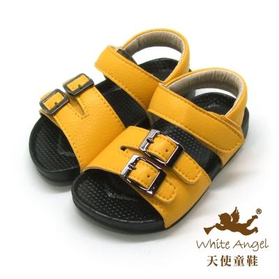 天使童鞋-F5034 悠閒扣鐶涼鞋 (小童)-柳澄黃