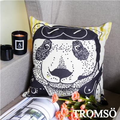 TROMSO-品味英倫棉麻抱枕U82黃黑熊熊