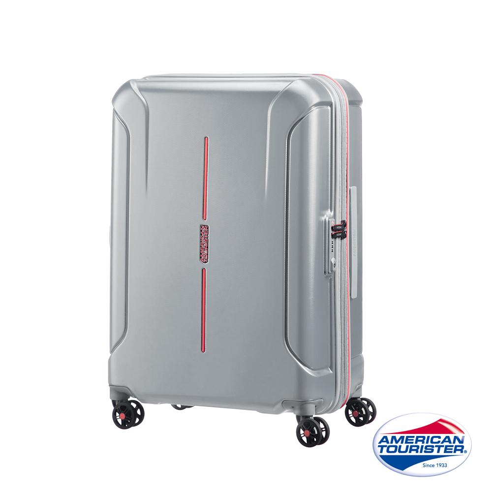 AT美國旅行者 25吋Technum防刮飛機輪可擴充TSA海關鎖行李箱(銀)