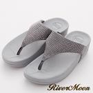 River&Moon拖鞋-單色晶鑽美體舒壓彈力夾腳涼鞋-灰