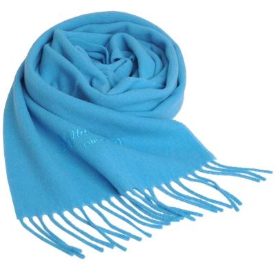 Aquascutum 高質感100%羊毛經典品牌字母LOGO刺繡圍巾(天藍色)